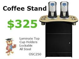 office coffee cabinets. OSC 250 Office Coffee Stand With Oak Formica Top \u0026 4 Cylinder Condiment Cups. $325. Specifications: 35\u2033 Wide X 19.5\u2033 Deep 32\u2033 High. Cabinet 23.25\u2033 Cabinets
