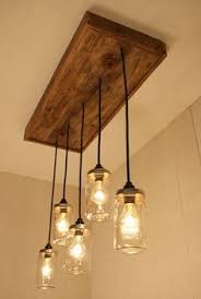 reclaimed industrial lighting. Mason Jar Lights With Reclaimed Wood And 5 Pendants. R-1434-CMJ-5 Chandelier Industrial Lighting G
