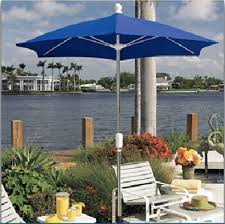 picture of fiberbuilt patio umbrella 7 1 2 foot hexagon with two piece aluminum pole