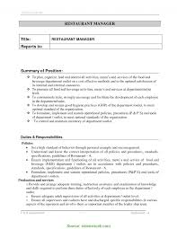 Restaurant Manager Job Description Resume Best of Restaurant Manager Duties And Responsibilities Resume R RS Geer