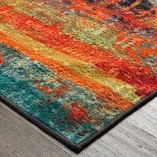 orange and blue area rug light