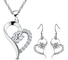 frequently bought together silver swarovski elements crystal heart pendant necklace drop earrings set k32