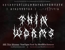 mb thin worms black metal band font design with scratches branches and hooks