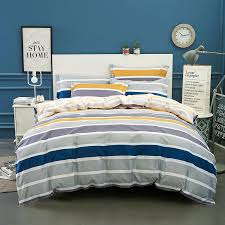 wongsbedding 100 cotton stripe duvet cover sets quality bedding set twin full queen king size 3 sheet beddings super king size bedding linen duvet from
