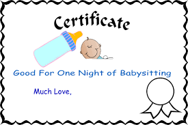 babysitting gift certificate template free babysitting gift certificate template cliparts co