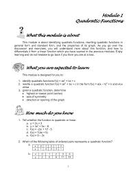quadratic function examples with answers math 1 module 1 quadratic functions what this module is about
