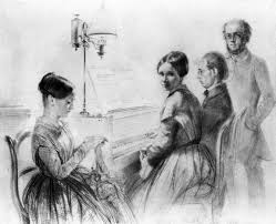menzel with his brother sister and a relative next to the upright piano adolph von