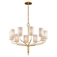 troy juniper textured gold leaf ten light chandelier with off white hardback linen