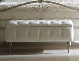 Leather Bedroom Benches Bxs Marsha White Leather Modern Scroll Arm Bench White Bedroom