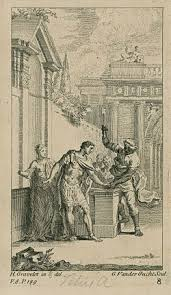 titus andronicus  gravelot illustration of aaron cutting off titus s hand in act 3 scene 1 engraved by gerard van der gucht 1740