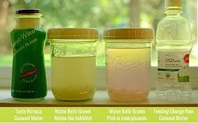 kefir drink. fermenting coconut water in a range of colors with kefir grains.   makesauerkraut. drink