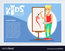 School Poster Designs Creative Blue Poster For Kids Club With School Boy