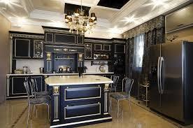 kitchen elegant black kitchen cabinet design with fabulous chandelier and ceiling lights black kitchen