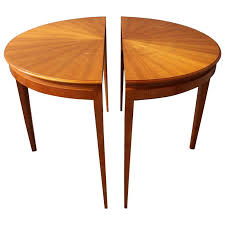 fine french 1950s cherry round dining table divisible in two demi lune tables for