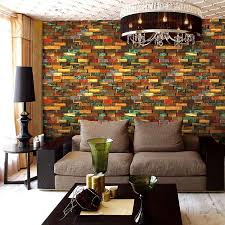 colourful 3d stone brick pvc wallpaper
