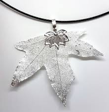 silver plated natural maple leaf