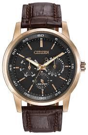 Corso - <b>Men's</b> Eco-Drive BU2013-08E <b>Rose Gold Leather</b> Watch ...
