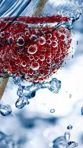 Bubbles, red raspberry, water 1080x1920 ...