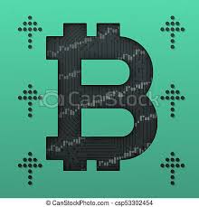 Bitcoin Option Chart Bitcoin Growth Market Chart And Up Arrows With Circuit Board 3d Illustration