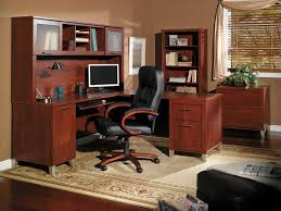 shaped computer desk home office. Office : Small Rustic Luxury Home Interior Using Brown Varnished Teak Wood L Shaped Computer Desk And Hutch Cabinets Also Black Leather Swivel Chairs