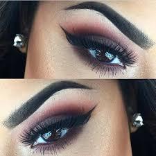 brown burgundy smokey eye makeup idea for brown eyes