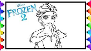 Elsa from frozen 2 free printable coloring page sprinkling a little magic on her little friend. How To Draw Elsa From Disney S Frozen 2 Frozen 2 Coloring Pages For Kids Glitter Art Youtube