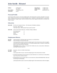Template For Cv Resume
