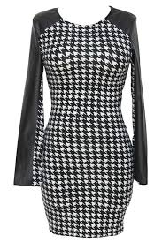 black faux leather long sleeve houndstooth con dress 016961 long sleeve dresses long sleeved dresses long sleeves dresses long sleeve lace dresses