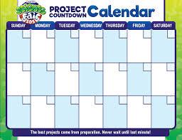 Science Fair Project Calendar