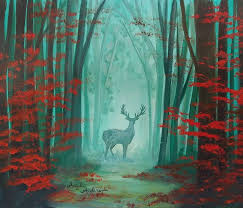 easy beginner autumn forest landscape with deer silhouette acrylic painting tutorial by angela anderson on you