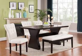 Walnut Living Room Furniture Sets Acme 71515 Effie 6pcs Walnut Dining Table Set Beige Chairs Bench