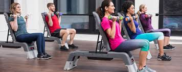 photo of a small group cl in a fitness facility using life fitness studio equipment