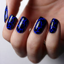 Blue Black and White Nail Designs