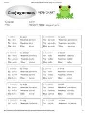 Verb Chart Present Tense Regular Verbs Conjuguemos