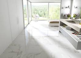 Carrara Porcelain Tile Like A Marble Ceramic For Bedroom Floor Ideas Plus  Floating Bathroom Vanity And Low Profile Bed And Large Glass Window Plus  Wall ...