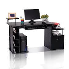 homcom wood computer desk with drawer shelves black