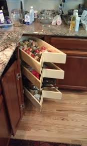Q: What has pull out shelves shaped to fit your corner cabinets in the front