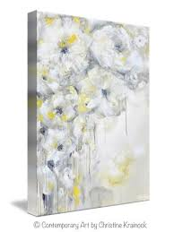 grey floral canvas wall art