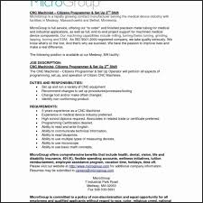 Resume Template Cncachine Operator Resume Sample Downloadachinist Classy Free Resume Templates For Machinist