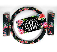 fl monogrammed steering wheel cover seat belt cover license plate set padded insulated steering wheel cover car accessories for women