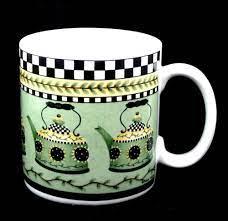 Sunny Country Kitchen Green Teapots Coffee Mug Checked Border Debbie Mumm Sakura Sakura Auctiongirlvintage Ebayrocteam Shopsmall Mugs Tea Pots Coffee Mugs