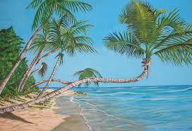 beach painting palm tree by edward maldonado