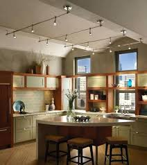 sloped ceiling track lighting kitchen traditional kitchen