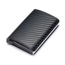 wallet aluminum wallet with pu leather and zipper carbon