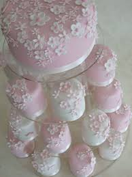 Wedding Cake Tower With Pink Cake And Cupcakes 2038876 Weddbook