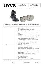 Uvex Safety Shoes Size Chart Uvex 8415 2 Quatro Gore Tex Waterproof S3 Safety Boots