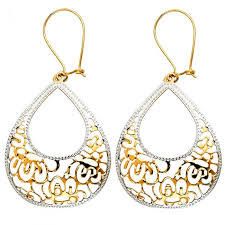 14k two tone gold filigree teardrop chandelier earrings