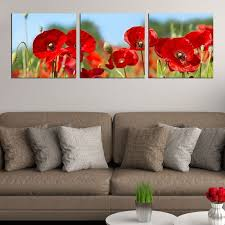 wall art decoration red poppies