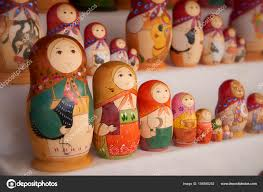 moscow family set russian dolls matreshka at  moscow 26 2017 family set russian dolls matreshka at souvenir market shop traditional classic russian culture handicraft art background
