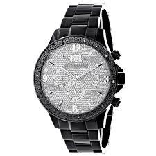 black diamond watches for men women luxurman liberty black diamond watch for men 1 4ct